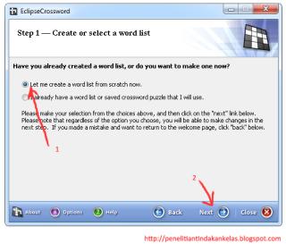 cara membuat TTS dengan EclipseCrossword 2
