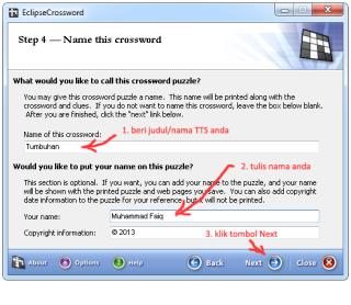 cara membuat TTS dengan EclipseCrossword 5